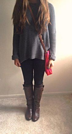 Fall outfit #sweater #leggings #boots #katespade #fall