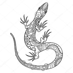 Illustration about Vector Tribal Decorative Lizard. Illustration of doodle, coloring, exotic - 52847639 Coloring Pages For Grown Ups, Coloring Pages To Print, Free Coloring Pages, Coloring Books, Printable Coloring, Easter Bunny Colouring, Zentangle Drawings, Zentangles, Illustration Vector