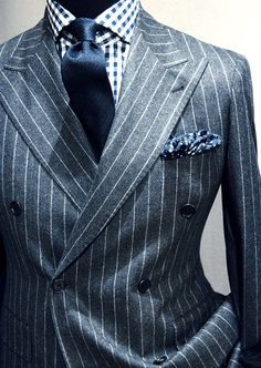 Double breasted pinstripe wool suit with gingham dress shirt