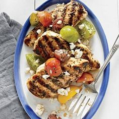 Grilled Lemon Chicken with Tomato Salad | CookingLight.com