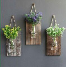 Hanging Flower Pots, Hanging Plants, Flower Vases, Hanging Vases, Wood Home Decor, Home Decor Furniture, Wall Terrarium, Plants In Bottles, House Plants Decor
