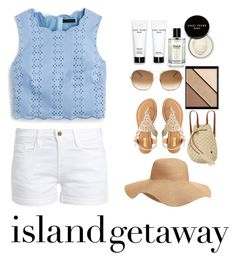 """""""Island Chic"""" by madinnmichelle ❤ liked on Polyvore featuring J.Crew, Frame, Bobbi Brown Cosmetics, Elizabeth Arden, Chloé, Old Navy, Qupid and Billabong"""