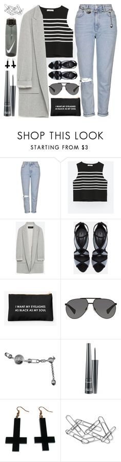I Lost My Place in Line... by sweet-jolly-looks ❤ liked on Polyvore featuring Topshop, Zara, DolceGabbana, Versace, MAC Cosmetics, Chicnova Fashion, Home Decorators Collection, NIKE, Spring and black