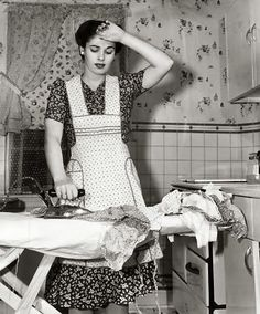 Ironing.....what a rotten chore....Everything, and I mean everything, got ironed back in those days. Even underwear. Thank God those days are gone!!