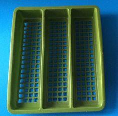 Vntg MC Deka Plastics Green Kitchen TRAY Cutlery Silverware Utensils Organizer in Collectibles, Vintage, Retro, Mid-Century, 1960s | eBay