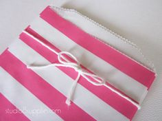 25 Hot Pink Horizontal Stripe Middy Bitty Bags from studio8supplies, $6.75