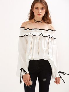 Shop White Off The Shoulder Contrast Trim Eyelet Ruffle Top online. SheIn offers White Off The Shoulder Contrast Trim Eyelet Ruffle Top & more to fit your fashionable needs. White Ruffle Blouse, Ruffle Top, Ruffle Sleeve, Flutter Sleeve, Girly Outfits, Fashion Outfits, Girls Blouse, White Off Shoulder, Beautiful Outfits