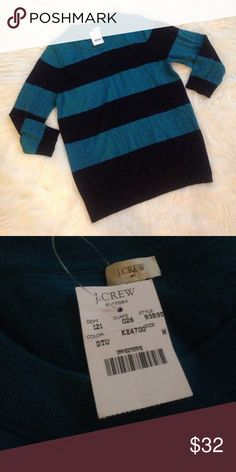 NWT J.Crew factory charley sweater Perfect condition turquoise and navy charley sweater, polished and preppy layer with a chambray collar underneath. Perfect condition medium J. Crew Factory Sweaters Crew & Scoop Necks