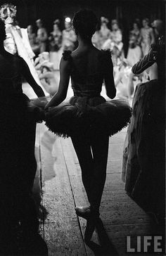 In the wings, circa 1950.  I love these vintage wings shots in black and white.