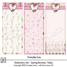 Printable Lists - Shopping Lists, To Do Lists - Note Cards - Spring Tulips - Floral, Flower, Garden Theme - Carolee Jones Artwork - by Gina Jane Designs - DAISIE Company