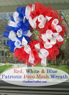 Beautiful deco mesh wreath Are you a fan of Deco Mesh? I've shared some fun Deco Mesh crafts, like the Deco Mesh Topiary or Deco Mesh Halloween Ghost. Recently, I saw something new at Jo-Ann Stores – rolls of mesh ribbon onl. Patriotic Wreath, Patriotic Crafts, Patriotic Decorations, 4th Of July Wreath, Diy Arts And Crafts, Crafts To Make, Valentine Crafts, Holiday Crafts, Mesh Ribbon Wreaths
