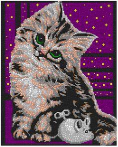 0148-dc-wanna-play-4x3 All About Cats, Erdem, Cross Stitch Kits, Snoopy, Painting, Play, Diamond, Crochet, Design