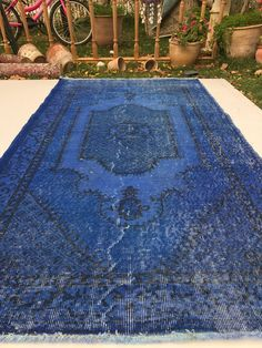 "Royal blue rug,vintage rug,anatolian rug,oushak rug,turkish rug,area rug,3""10 x 7 ft,floor rug,hallway rug, living rug, design rug,rugs"