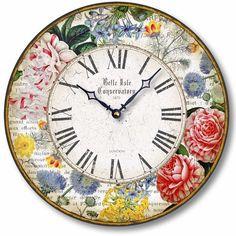 Item C8308 Antique Style Floral Botanicals 12 Inch Clock