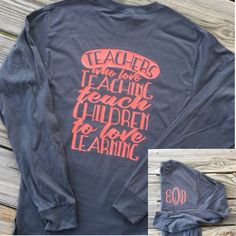 This monogrammed teacher shirt is a must have for casual days. These are also a great gift for your favorite teacher or teacher assistant!!   Please leave the following information at checkout: 1) Shirt Color 2) Color for Design 3) Monogram in the exact order youd like for it to appear.  Want this in a short sleeve or sweatshirt? Message us for a custom listing
