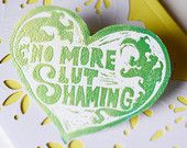 No More Slut Shaming: Glittery Feminist Sticker Fabulously Feminist, your source for all things gender and eco friendly! Please be sure to Like my Facebook page to keep up on sales & promotions and learn more about the awesome feminist artwork being made in the world. https://www.facebook.com/FabuloulsyFeminist