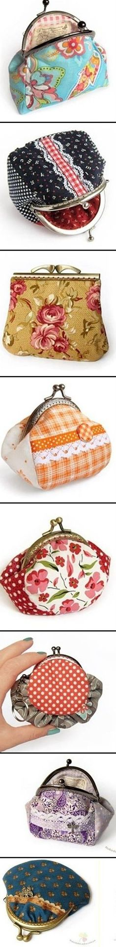 Framed Coin Purses - Free Sewing Templates.Easy,quick & fun.Choose your own fabric colors.