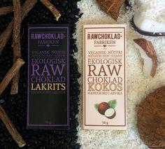 Rawchoklad lakrits och kokos - nya smaker från Rawchokladfabriken 2017!   Rawchocolate Licorice and Rawchocolate Coconut - new from Rawchokladfabriken 2017!