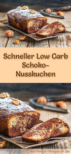 Rezept für einen Low Carb Schoko-Nusskuchen: Der kohlenhydratarme, kalorienreduzierte Kuchen wird ohne Zucker und Getreidemehl zubereitet ...