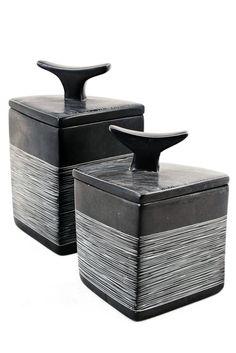 Chalkboard Soapstone Quadrant Trinket Boxes (Set of 2)