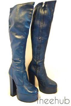 Vtg 1970s Rare Glam Platform Knee High Leather Boots Funky Fetish Blue Zipped