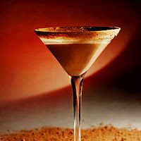 Ice  2 oz. chocolate liquor  1 1/2 oz. vodka  1/2 oz. grated chocolate    Shake to mix all, except grated chocolate.    Strain into chilled Martini glass..garnish with grated chocolate.  Serves 1.    No fuss, no muss!  Happy, Merry!!