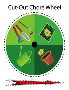 Delegate outdoor yard and garden activities with this printable chore wheel that can be cut out and used for families. Free to download and print