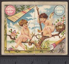 Antique-1881-Fairy-Clarks-Sewing-Thread-bird-Victorian-Advertising-Trade-Card