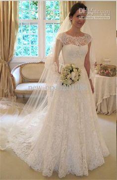 New Arrival White A-Line Lace Bateau Neck Bow Sash Chapel train wedding dress bride wedding dress