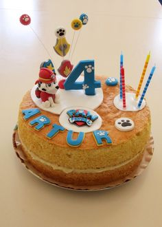 Paw Patrol 4th birthday naked cake. marshall character.