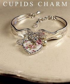 Vintage Silver Spoon Bracelet with Broken China Charm