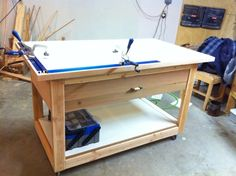 Practically all built with the Kreg Jig. I was taught by my dad, gluing and biscuit-joining, so this jig was all new to me. I'll tell you I was impressed and i… Kreg Jig Projects, Diy Wood Projects, Woodworking Projects, Woodworking Canoe, Woodworking Workshop, Workbench With Drawers, Workbench Plans, Wood Tools, Kreg Tools