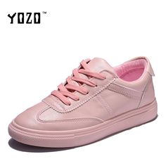 YOZO Women Shoes Fashion Lace Up Round Toe Pink Shoes Women  Flat Casual Ladies Shoes Leisure Brand Shoes Zapatos Mujer 2017