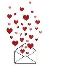 Hearts in the envelope cross stitch pattern needlepoint digital item for Valentines Day