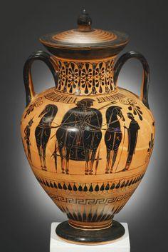 A Black-figure Neck-amphora, Attributed to the Painter of Cambridge 51  H. 38.5 cm. Clay Attic, ca. 530-520 B.C.