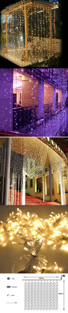 2016 3M x 3M 300 LED Outdoor Home Warm White Christmas Decorative xmas String Fairy Curtain Garlands Party Lights For Wedding $31.72