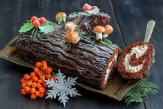 """The tradition of the Yule log goes back to, and before, medieval times, as a winter solstice tradition. Today, a chocolate Yule log or """"bûche de Noël"""" is very popular! Christmas Yule Log, Christmas Ham, Christmas Desserts, Christmas Traditions, Yule Goat, Christmas Cake Designs, Yule Log Cake, Bon Dessert, Cake"""