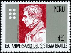 Louis Braille (1809-1852), the inventor of braille. Post stamp issued by Peru , 1976 to commemorate the 150th anniversary of the braille system