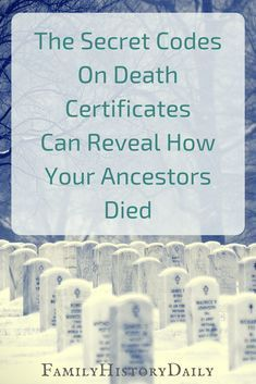 genealogy ICD Codes on Death Certificates Can Tell You How Your Ancestors Died Did you know that death certificates hold codes that can uncover how your ancestrors died? This free genealogy research trick can help you learn more about your ancestry fast. Free Genealogy Sites, Genealogy Search, Family Genealogy, Genealogy Forms, Free Genealogy Records, Genealogy Chart, Ancestry Records, Genealogy Humor, Family Roots