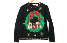 Teddy Bear Wreath Tacky Ugly Christmas Sweater Women's Size Medium (M) $28