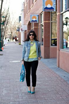 yellow sweater, mint blouse, denim jacket, turquoise pumps
