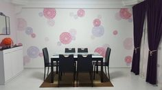 A DIY stenciled dining room accent wall using the three piece Zinnia Grande Stencil, popular flower stencils, from Cutting Edge Stencils. http://www.cuttingedgestencils.com/zinnia-grande-stencil-kit.html