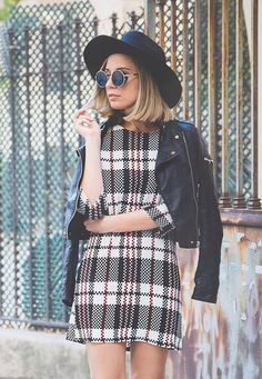 Hats are very big this fall! Leather and plaid #fall