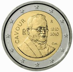2 euro Italy 2010, 200th anniversary of birth of Camillo Benso. Commemorative 2 euro coins from Italy