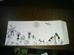 warli art on plain envelope