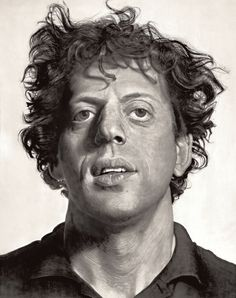 Philip Glass, composer photorealistic portrait by Chuck Close Chuck's works are confronting awe inspiring monumental