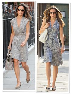 Kate and Pippa Middleton in neutral printed jersey dresses | Need something like this for summer!