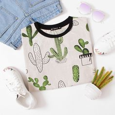 Cactus And Marble Print Ringer Tee