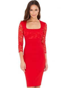 Scoop Neck Lace And Bengaline Dress - Red Jeseň Zima c7427a05941