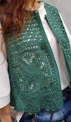Form Crochet, Crochet Cardigan, Diy Crochet, Crochet Top, Knitting Patterns Free, Free Pattern, Crochet Patterns, Crewel Embroidery, Crochet Fashion